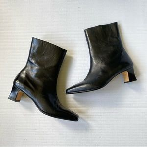 Etienne Aigner Leather Square Toe Ankle Boots 9M
